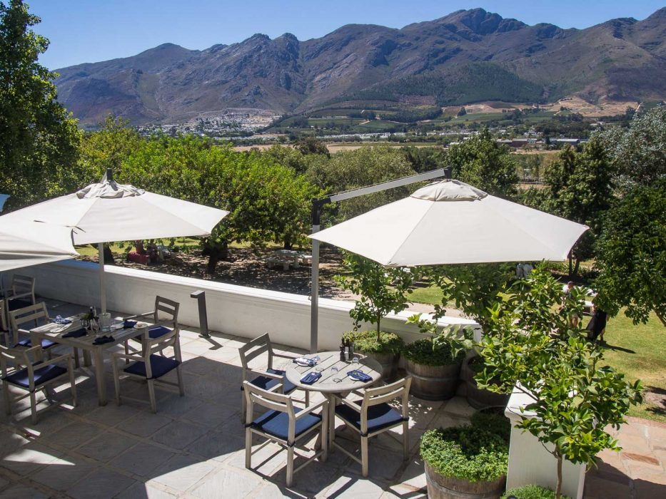 The terrace of the Country Kitchen restaurant at Mont Rochelle on the Franschhoek wine tram