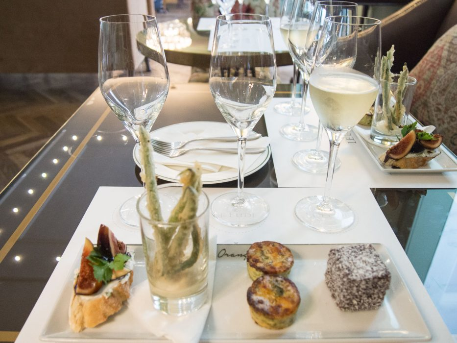 MCC and vegetarian canape tasting at Le Lude on Franschhoek wine tram