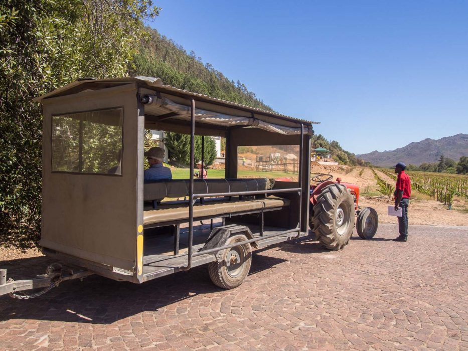 Franschhoek wine tram review - The trailor that connects the tram to the wineries