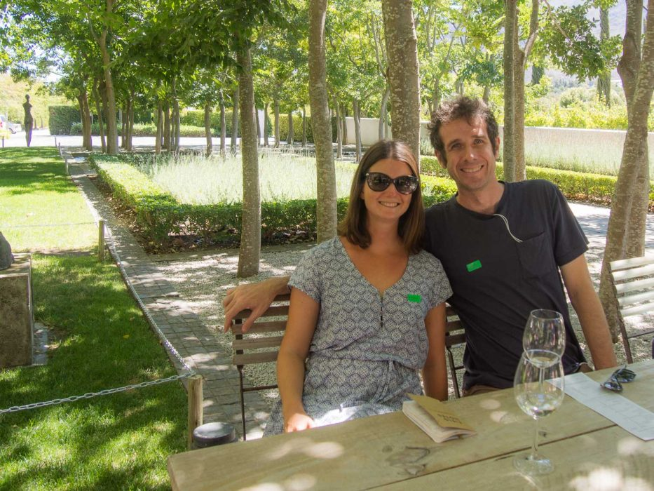 Erin and Simon wine tasting at Grand Provence on the Franschhoek wine tram