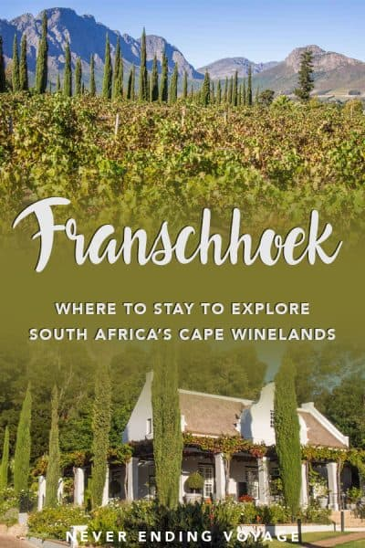 South Africa has some of the best wineries in the world, and they're all in the Cape Winelands! To explore the area, you're best bet is to stay in the beautiful Franschhoek, and here's why. #franschhoek #westerncape #southafrica #capewinelands