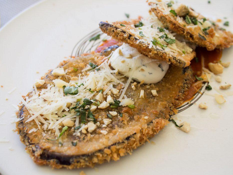 Crumbed aubergine at La Petite Ferme, one of Franschhoek's best restaurants