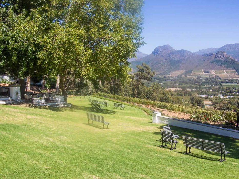 The view from La Petite Ferme restaurant in Franschhoek