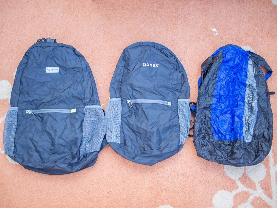 A comparison of the best packable daypacks including The Friendly Swede, Gonex and Sea to Summit