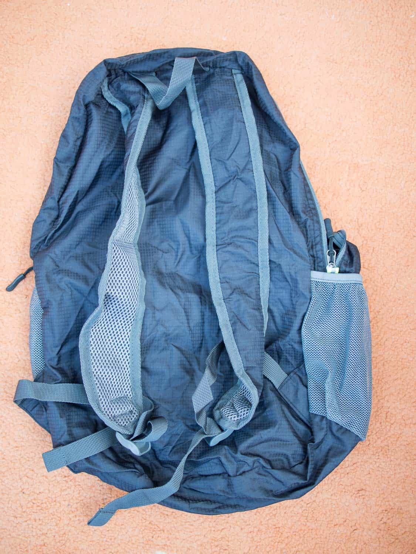 The back of the Gonex Ultralight Travel Backpack