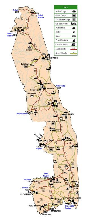 Kruger National Park rest camps map