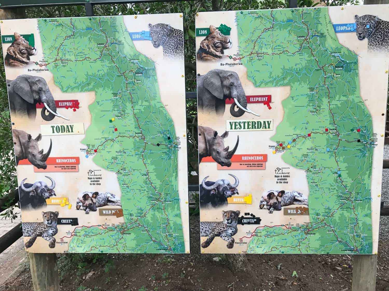 Sightings map at Kruger National Park for a self-drive safari