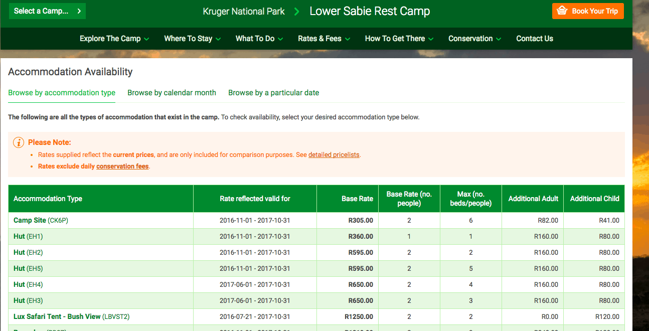 Lower Sabie availability page - How to book a Kruger National Park rest camp