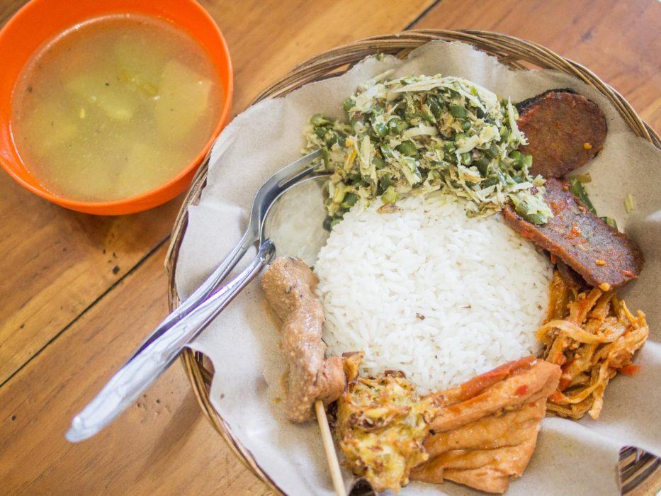 Nasi campur at Warung Makan Rama vegetarian restaurant in Ubud, Bali