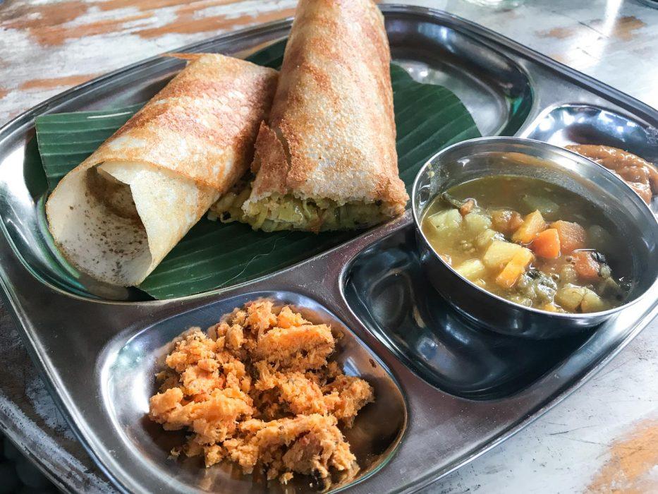 Mumbai Station masala dosa, a vegan Indian restaurant in Ubud, Bali