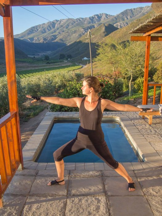 Practising yoga with my Yoga Paws in Robertson, South Africa