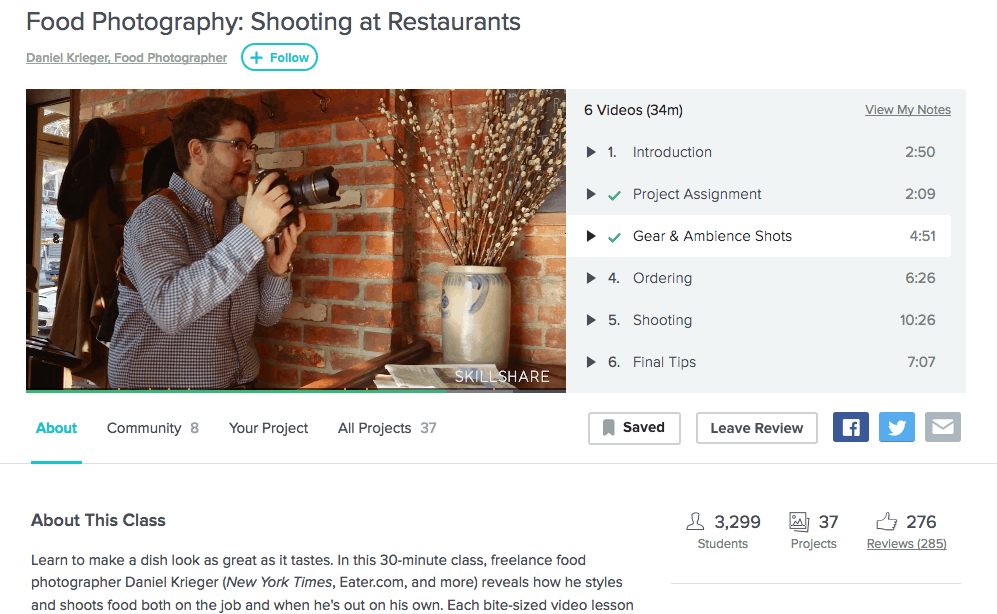 Skillshare review of food photography class