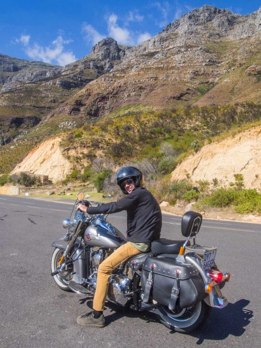 Riding a Harley Davidson motorbike on Chapman's Peak Road on the way back from the Cape Peninsula