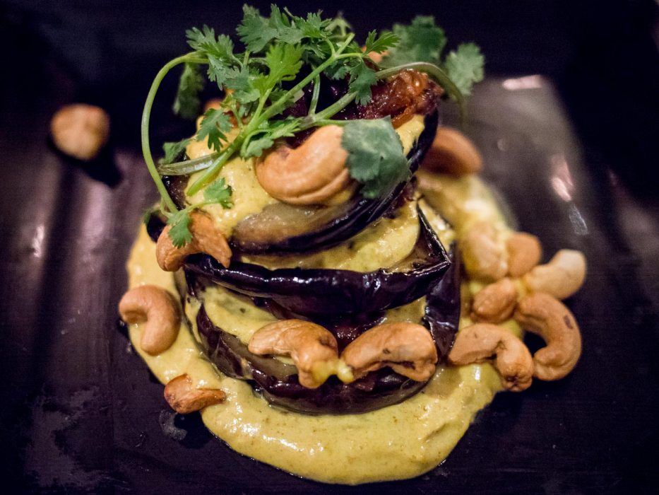 Roast aubergine salad, one of the vegetarian options at Black Sheep Restaurant in Cape Town