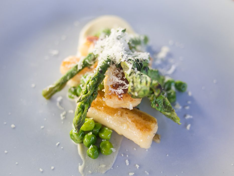 Gnocchi with peas and asparagus from La Mouette's vegetarian tasting menu in Sea Point, Cape Town