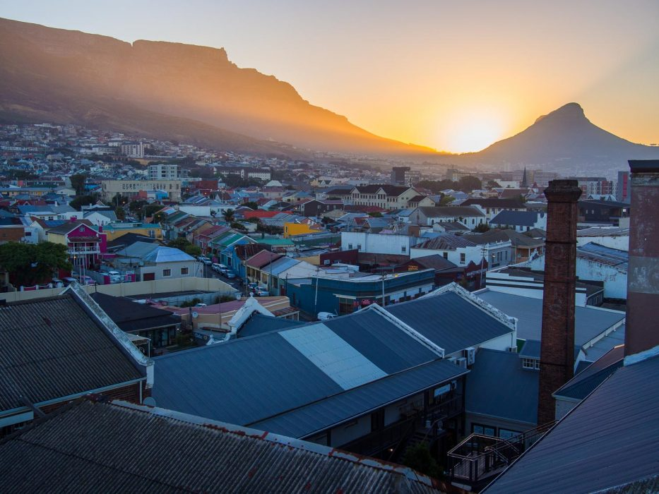 The view of Table Mountain and Lion's Head from The Pot Luck Club at sunset