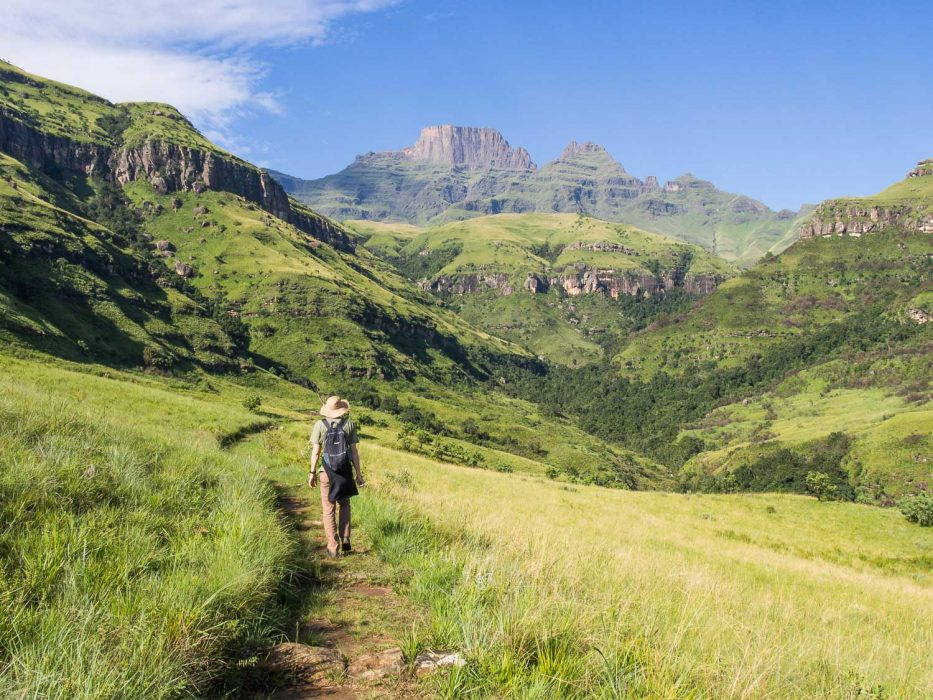 Hiking from Monks Cowl in the Drakensberg Mountains, South Africa