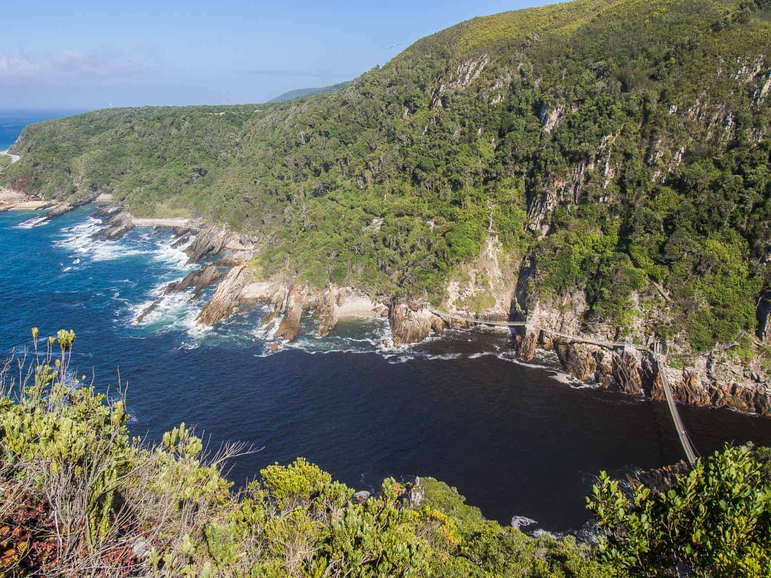 Storms River Mouth suspension bridges from The Mouth Trail