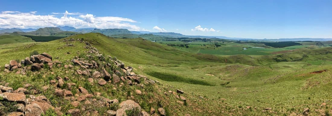 The view while horse riding with Khotso in Underberg in the Drakensberg Mountains