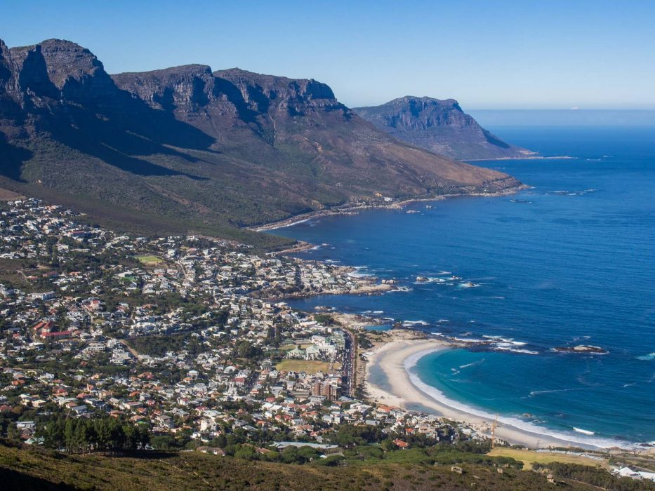 The view of Camps Bay from Lion's Head - one of the best hikes in Cape Town