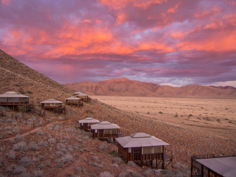 Moon Mountain Lodge at sunset in Namibia