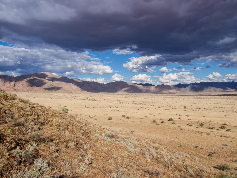 Stormy skies in the Namib desert on our Namibia self drive road trip.