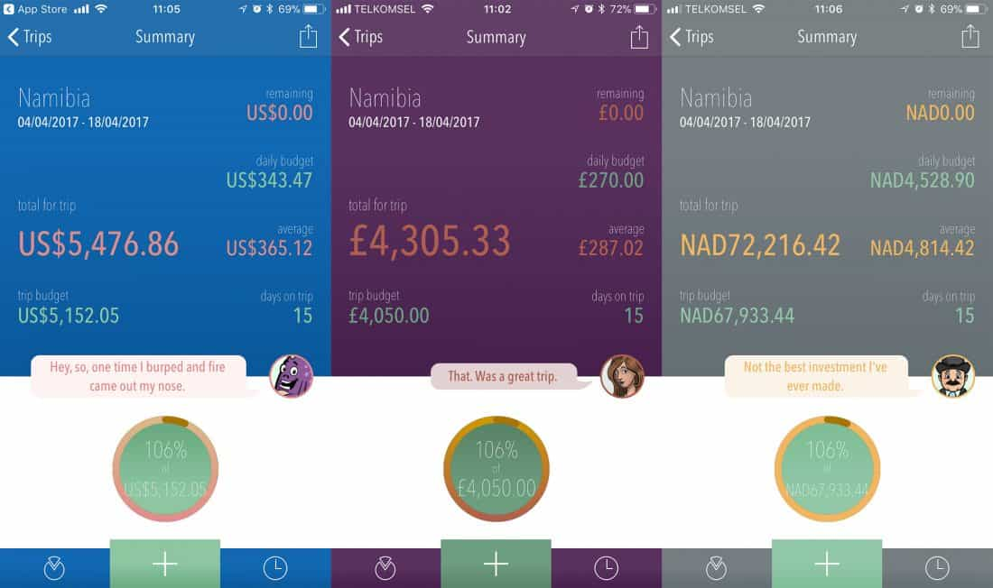 Our Namibia budget summary screen in Trail Wallet app