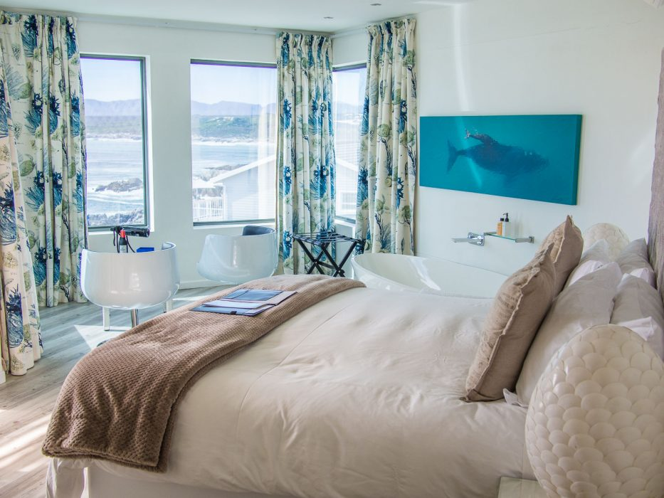 The penthouse suite at Sea Star Cliff Lodge in De Kelders, a special place to stay in South Africa