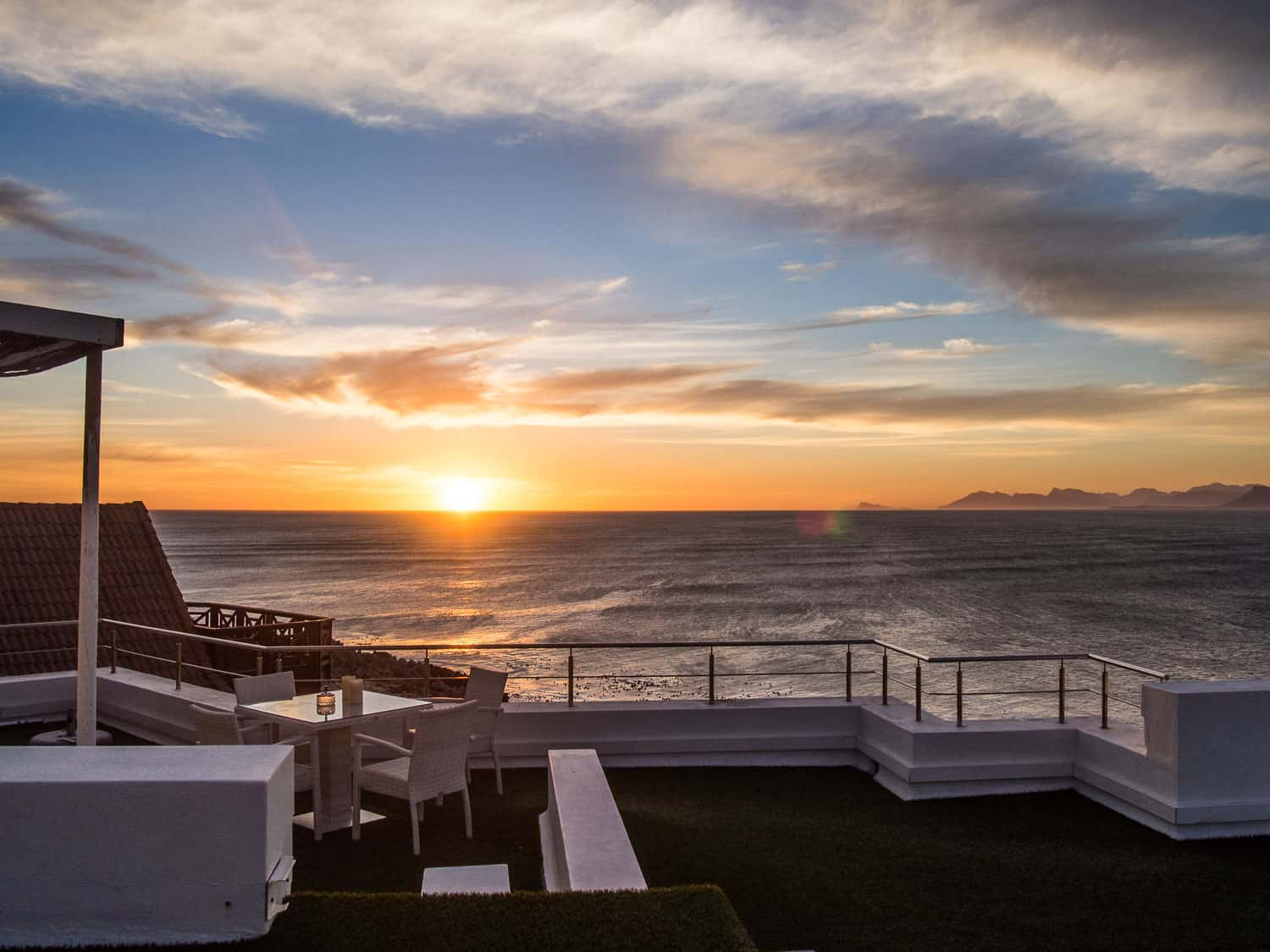 Sunset at Sea Star Cliff Lodge in De Kelders, a special place to stay in South Africa