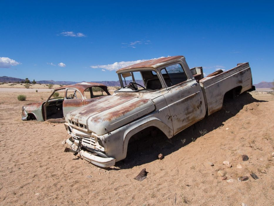 Old cars in Solitaire in the Namib Desert