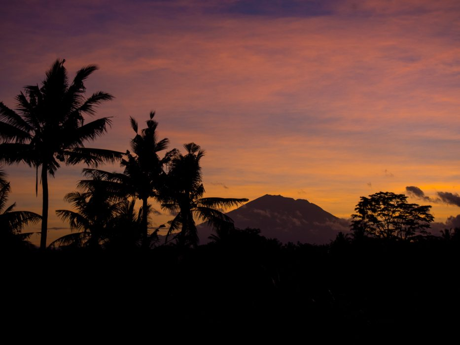 Getting an Indonesia visa extension in Ubud - sunrise volcano view.