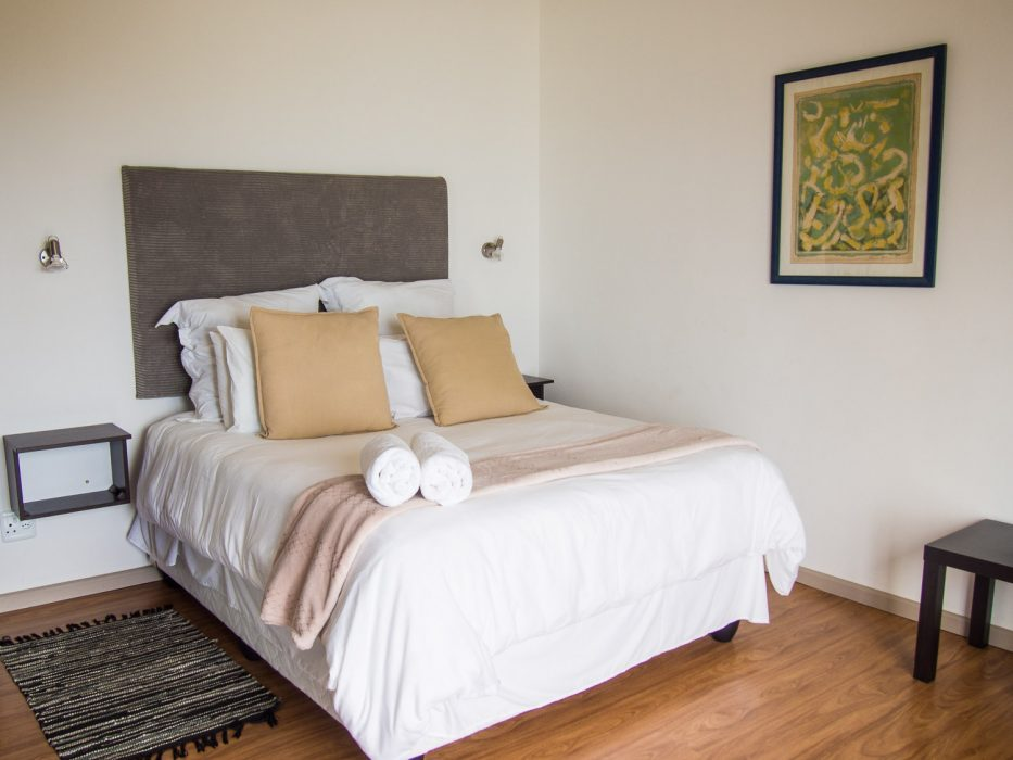 The bedroom of our suite at Wilderness Beach Resort, South Africa