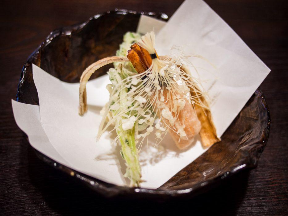 Vegetable tempura at Bon vegetarian restaurant, Tokyo