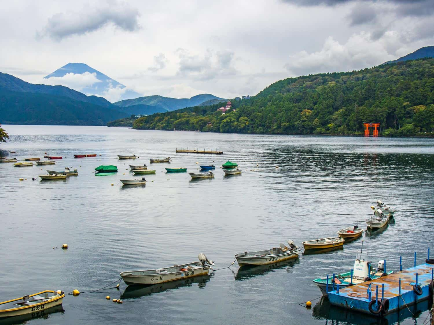 Mount Fuji from Lake Ashi in Hakone, one of the stops on our two week Japan itinerary