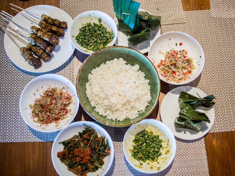 The vegetarian Balinese feast we cooked in the cooking class at Movenpick Bali Jimbaran