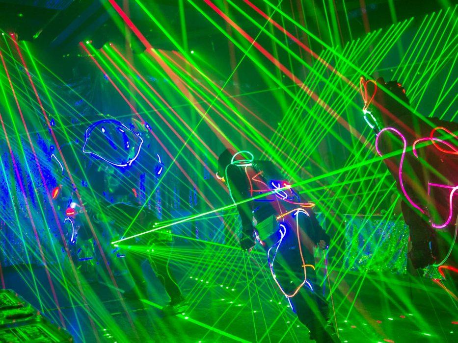 Neon laser lights and dancers at the Tokyo Robot restaurant