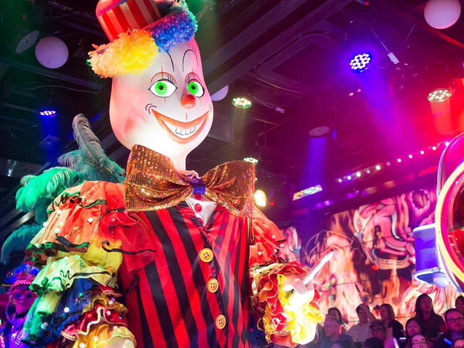 Creepy clown at the Robot Restaurant Japan