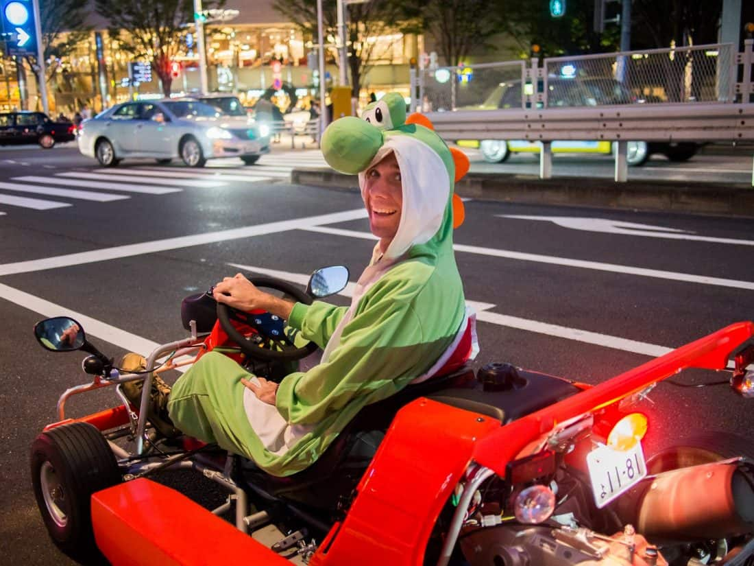 Simon dressed up as Yoshi on our Maricar experience in Tokyo
