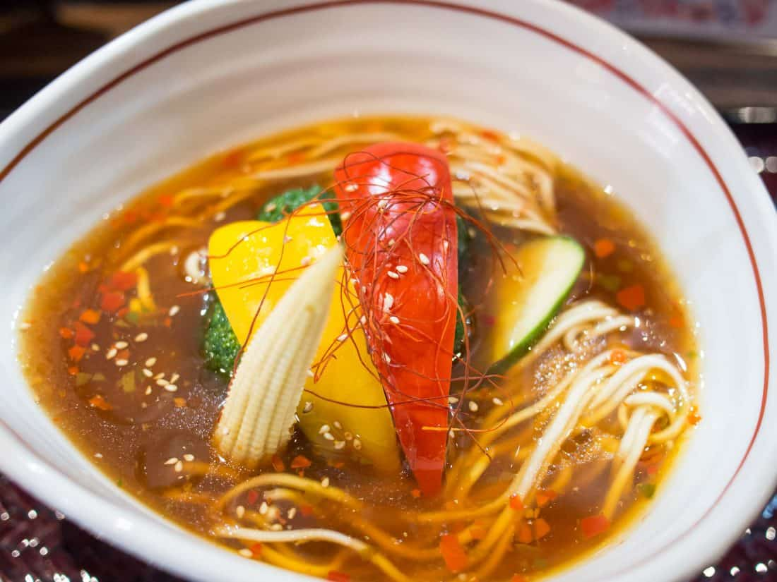 Spicy vegan ramen in Tokyo at Shinjuku Gyoen Ramen Ouka