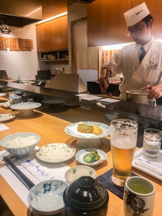Tsunahachi tempura lunch set, great for vegetarians in Shinjuku