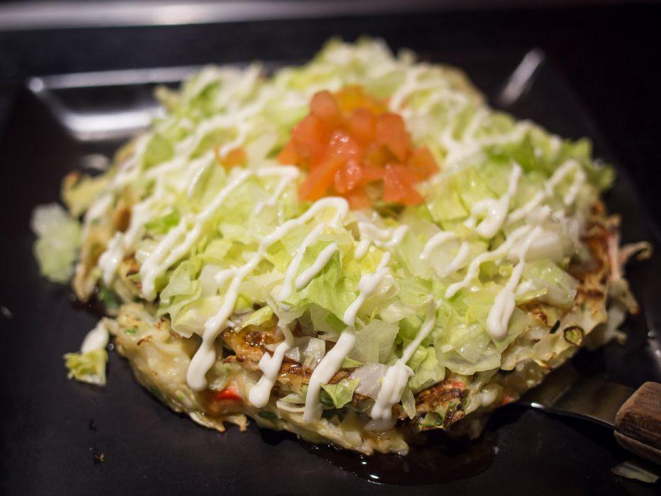 Tomato special vegetarian okonomiyaki at Zen, Tokyo
