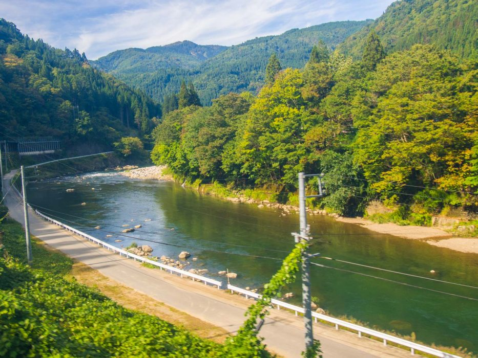 The gorgeous view on the Hida wide view train from Takayama to Toyama.