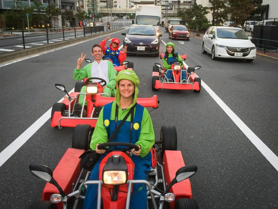 Dressing up as Mario characters and driving a Maricar go-kart is one of the many fun things to do in Tokyo