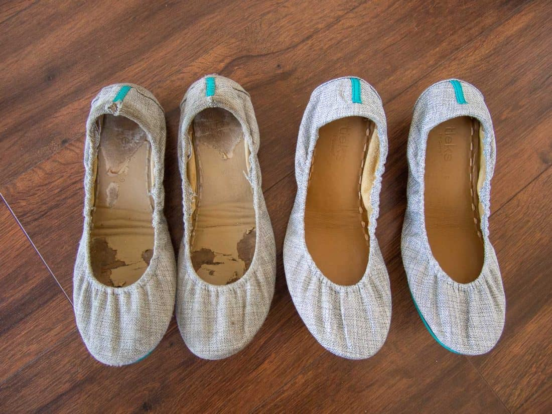 Honest Tieks review - my old Silver Lake Vegan Tieks (left) after 2.5 years of wear vs my new ones (right).
