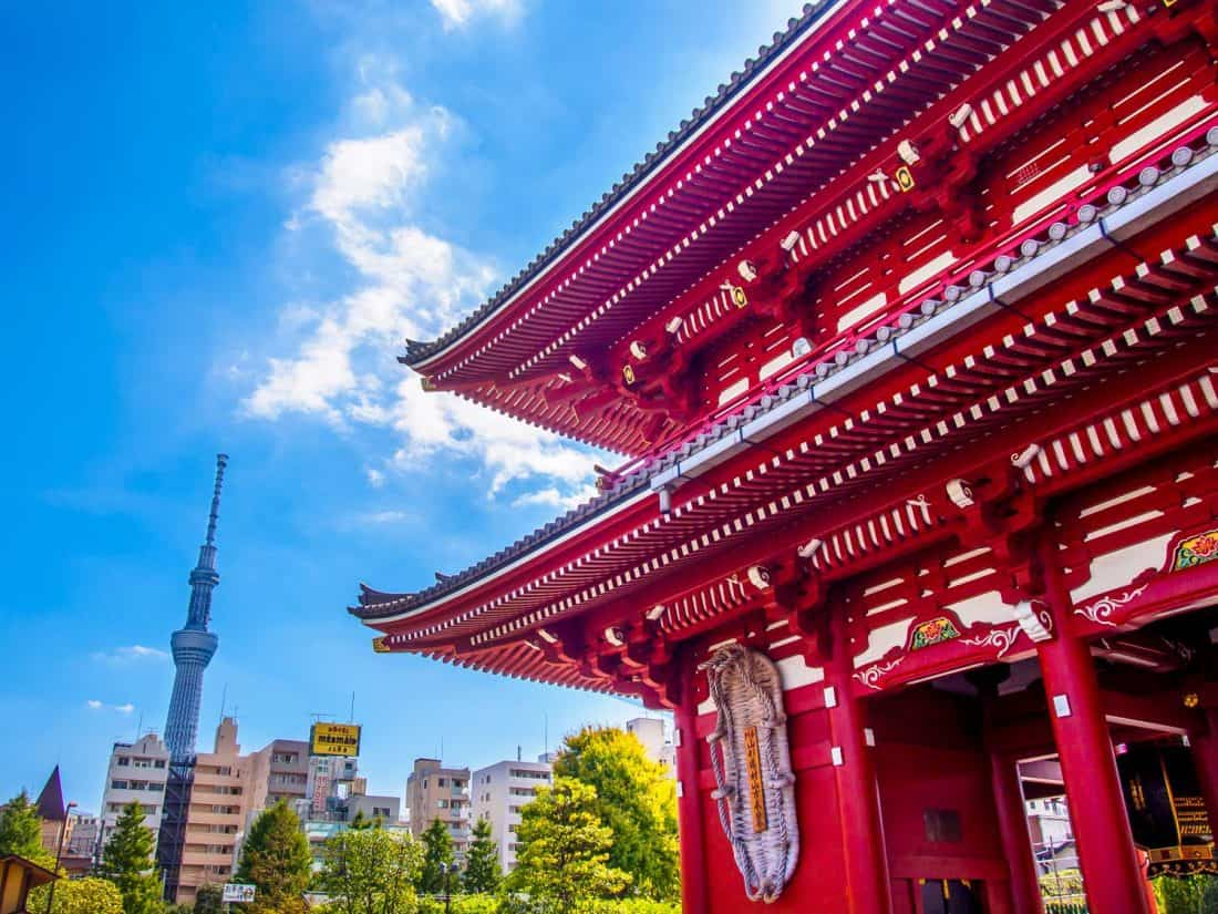 Sensoji Temple in Tokyo with SkyTree in the background, a top Japan destination
