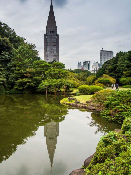 The skyscrapers of Shinjuku viewed from Shinjuku Gyoen National Garden, Tokyo