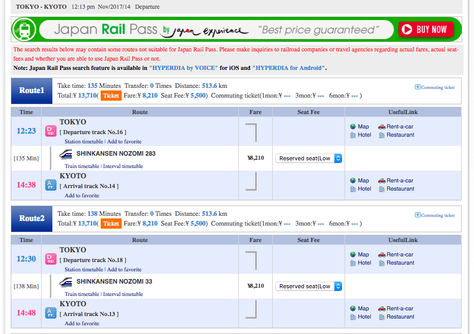 Using Hyperdia to calculate if a Japan Rail Pass saves you money