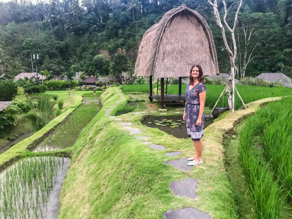 Wearing my Silver Lake vegan Tieks in the rice fields of Bali