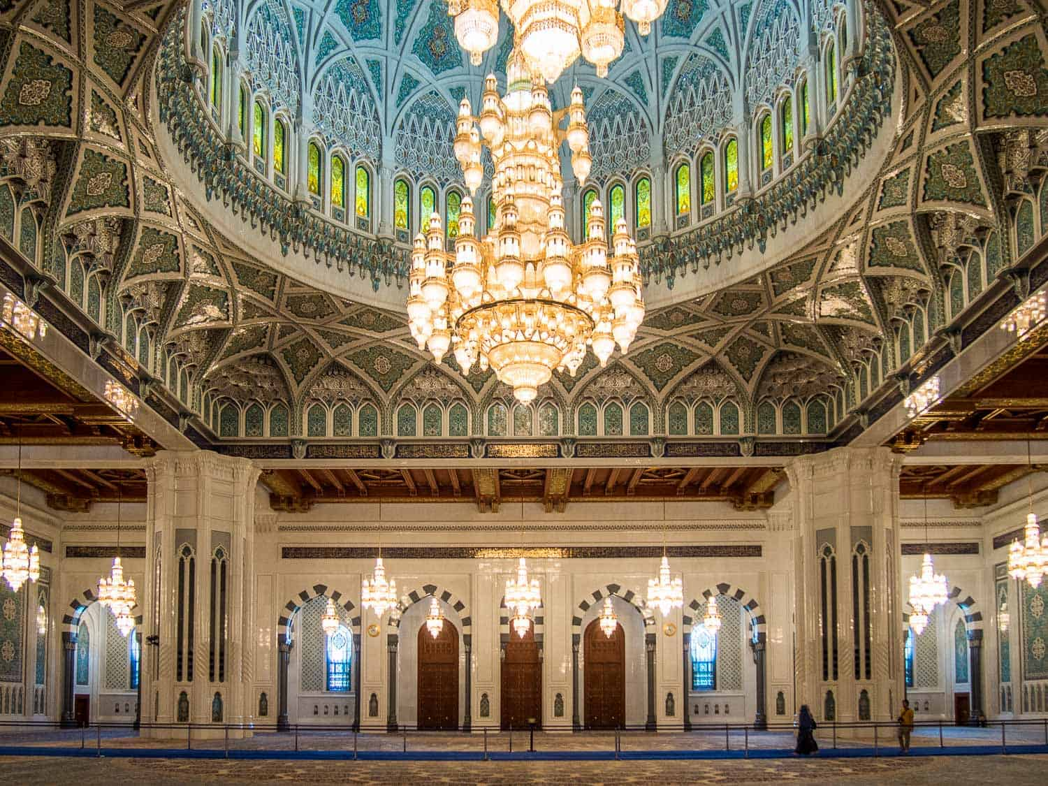 The main prayer hall of the Grand Mosque in Muscat, one of the most beautiful places to visit in Oman