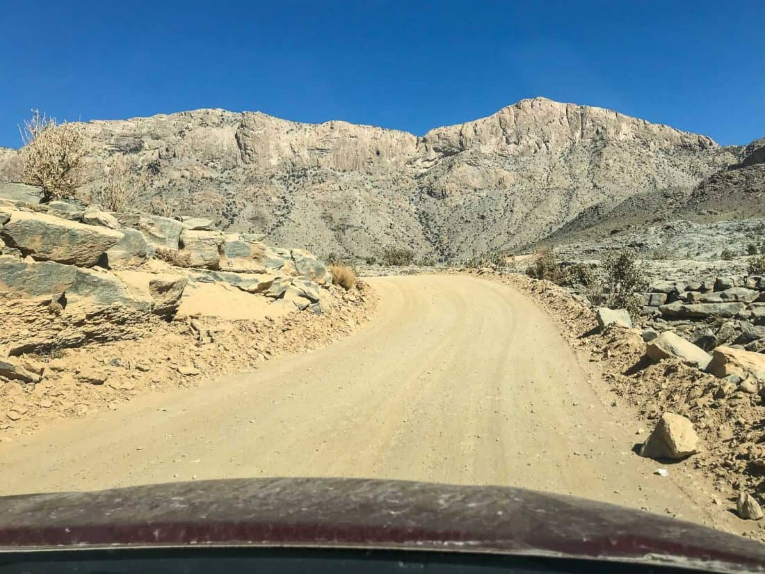 Driving up Jebel Shams in our 2WD SUV